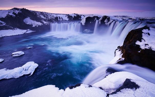 Фото обои Nature, Winter, Landscape, Water, Snow, Iceland, Travel