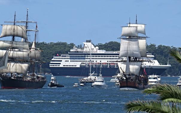 Фото обои море, корабли, лайнер, парусники
