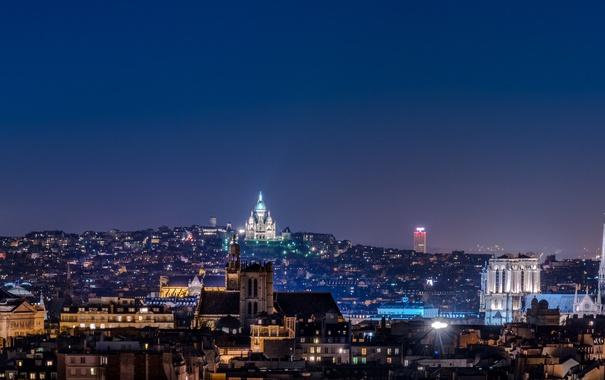 Фото обои ночь, город, огни, Франция, Париж, дома, панорама