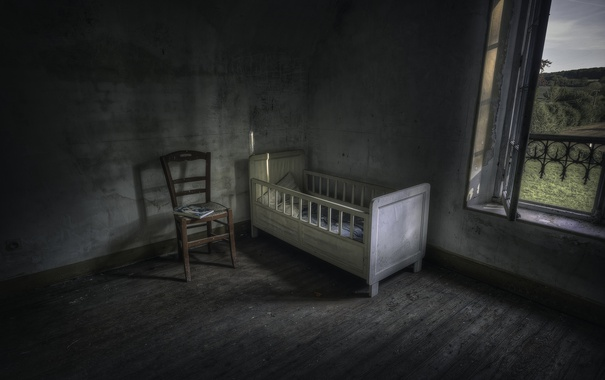 Фото обои окно, стул, колыбель