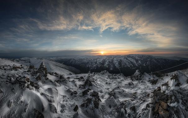 Фото обои горы, природа, Sunset, Bulgaria