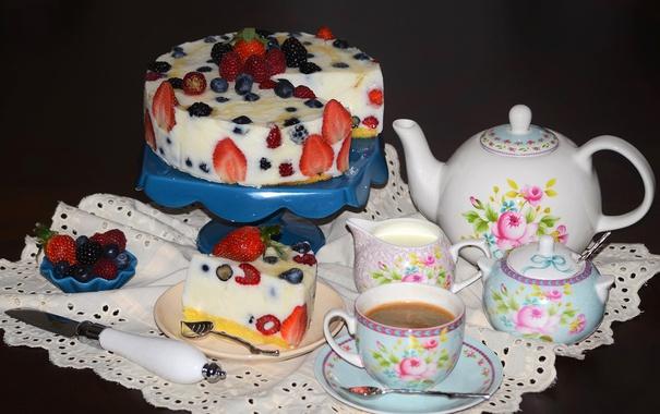 Фото обои ягоды, малина, кофе, клубника, торт, сервиз, голубика