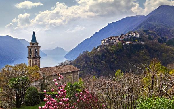 Фото обои цветы, горы, озеро, весна, Италия, церковь, Ломбардия