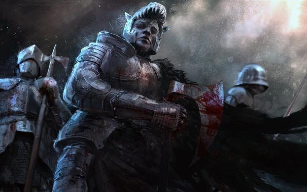 Фото обои взгляд, оружие, кровь, воин, броня, Рыцарь