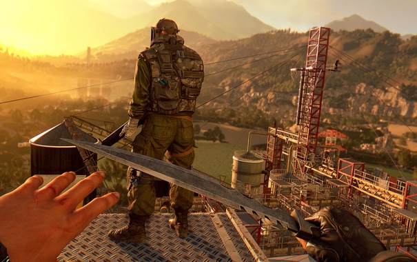 Фото обои soldier, sunset, knife, stealth, first-person, Dying Light the following
