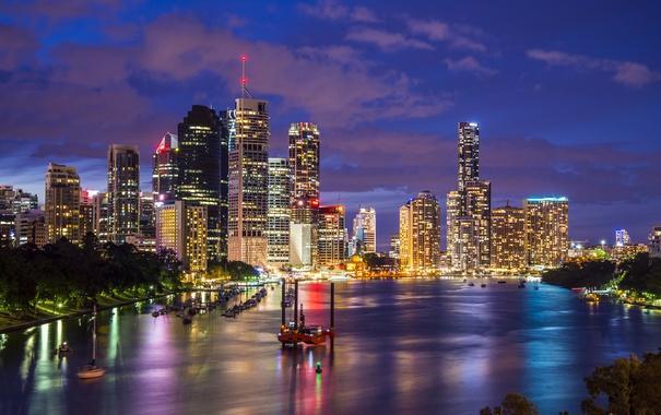 Фото обои ночь, огни, река, дома, небоскребы, лодки, Австралия