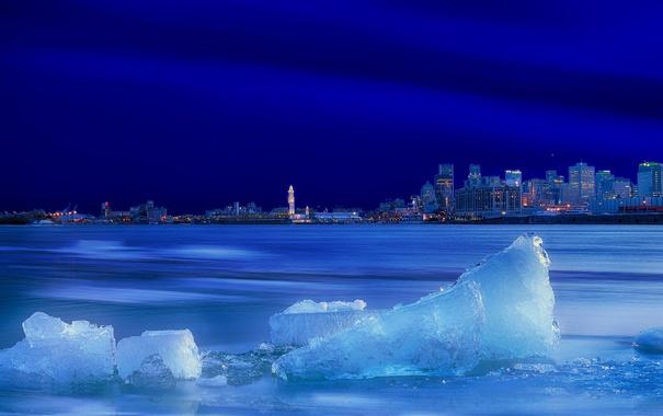 Фото обои City, Sky, Canada, Blue, Winter, Water, Sunset
