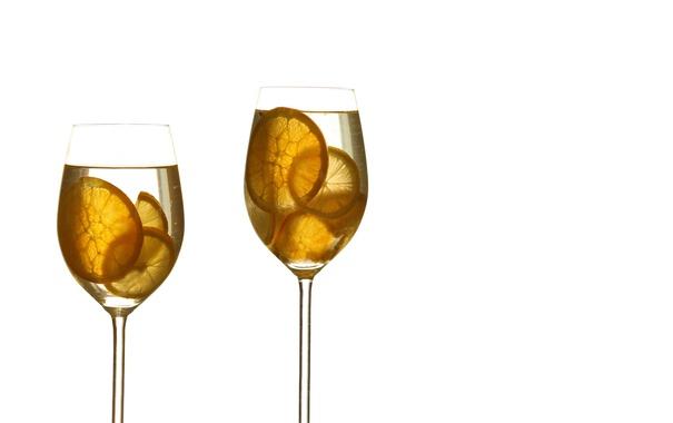 Фото обои лимон, бокалы, напитки