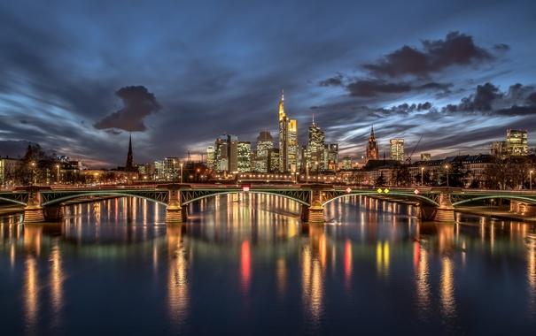 Фото обои облака, дома, Франкфурт-на-Майне, Германия, ночь, мост, огни