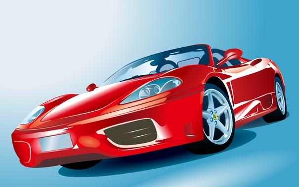 Фото обои спорт, вектор, Ferrari, кабриолет