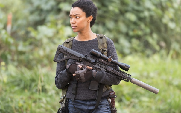 Фото обои Sasha, The Walking Dead, Ходячие мертвецы, Sonequa Martin-Green, Season 6