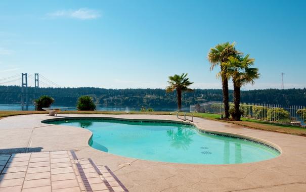 Фото обои небо, пейзаж, мост, дизайн, озеро, пальмы, голубое