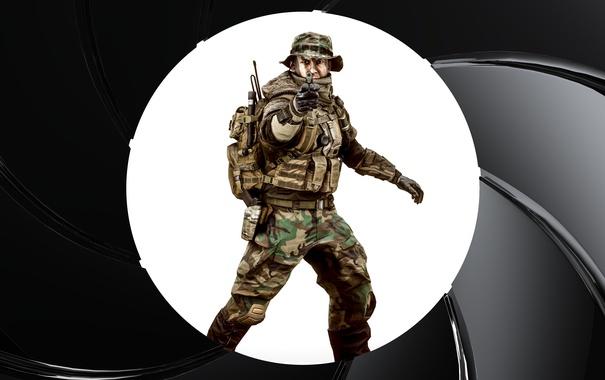 Фото обои пистолет, круг, солдат, экипировка, Battlefield 4