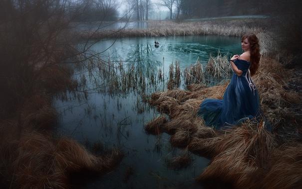 Фото обои девушка, птицы, озеро