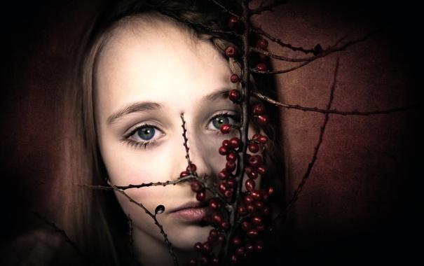 Фото обои ягоды, портрет, девочка
