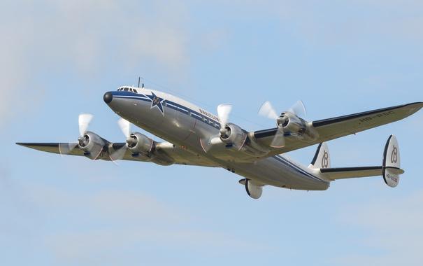 Фото обои самолёт, пассажирский, среднемагистральный, Super Constellation, Lockheed L-1049, 4-двигательный