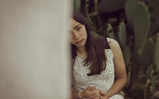 Фото обои грусть, лето, взгляд, девушка, лицо, волосы