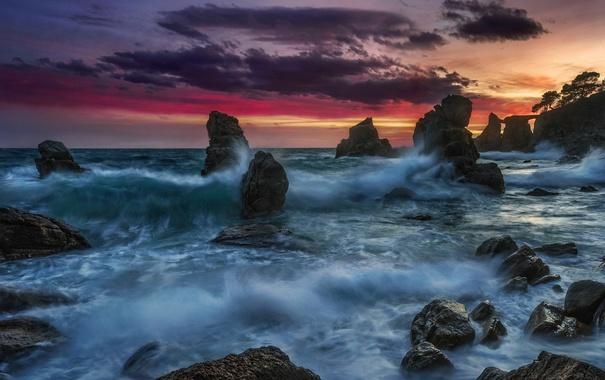 Фото обои ночь, скалы, море