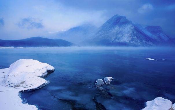 Фото обои снег, горы, Канада, Альберта, озеро Минневанка