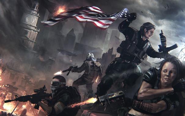Фото обои ночь, оружие, флаг, солдаты, Homefront: The Revolution, баррикады