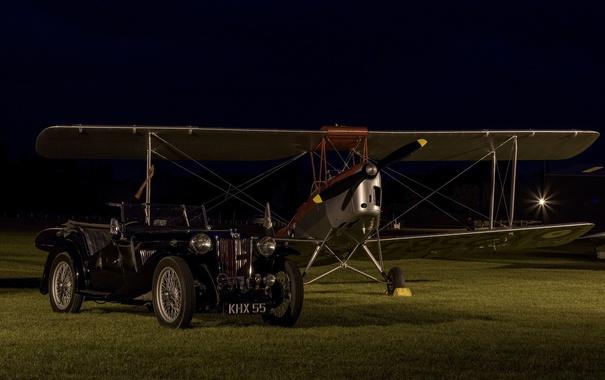 Фото обои ретро, самолет, автомобиль, классика, биплан
