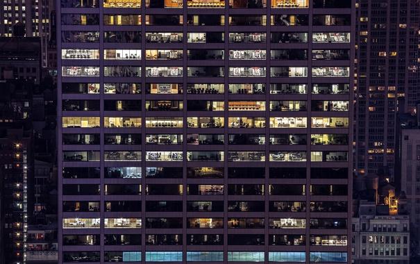 Фото обои свет, ночь, окна, небоскреб, мегаполис, офисы