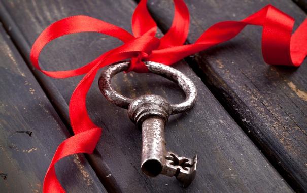 Фото обои ключ, wood, key, ribbon