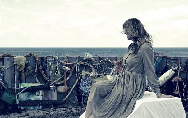 Фото обои море, женщина, горизонт