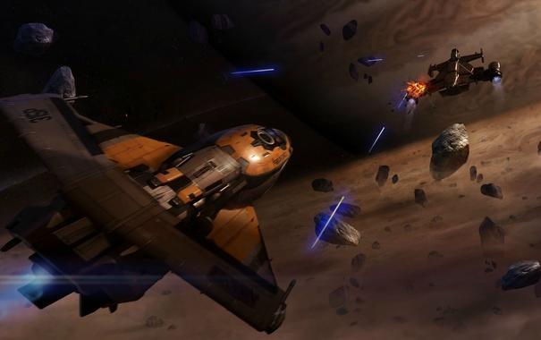 Фото обои космос, полет, осколки, корабли, битва, Star Citizen
