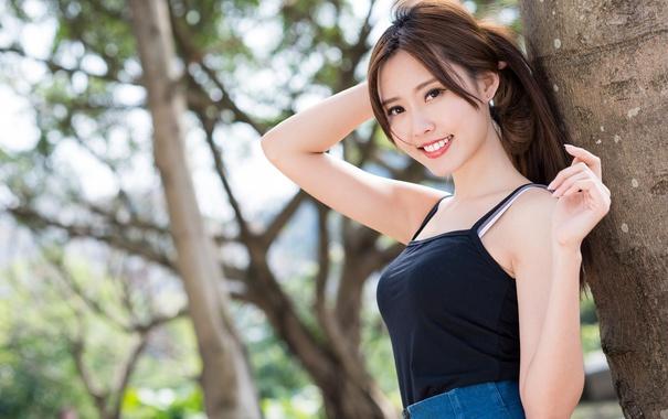 Фото обои лето, лицо, улыбка, азиатка