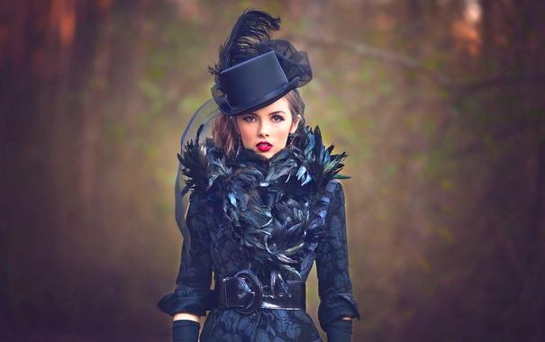 Фото обои девушка, перья, макияж, шляпка, Julia Altork, Victorian Goth