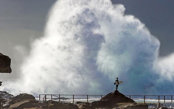 Фото обои брызги, шторм, Австралия, серфер, Сидней, Новый Южный Уэльс, Северные Пляжи