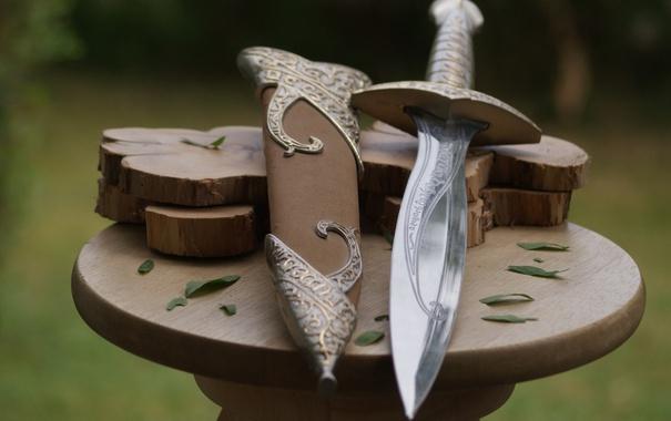Фото обои metal, sword, weapon, nature, wood, fairy, leaves