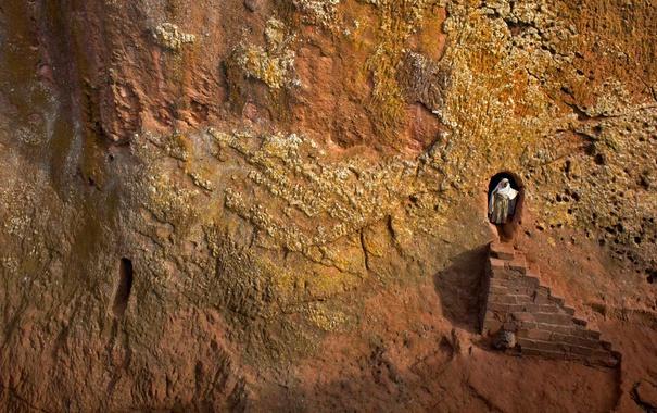 Фото обои скала, ступени, Эфиопия, Лалибела