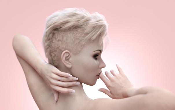 Фото обои девушка, рендеринг, волосы, стрижка, руки, губы
