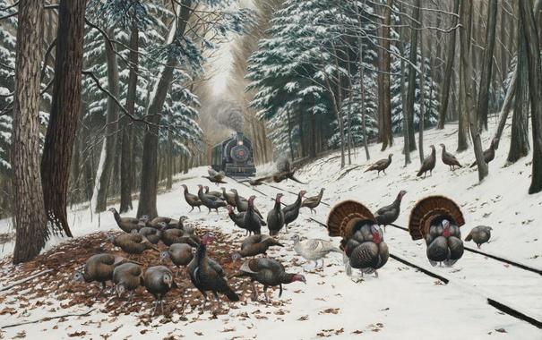 Фото обои лес, рельсы, пейзаж, поезд, рисунок, птицы, зима