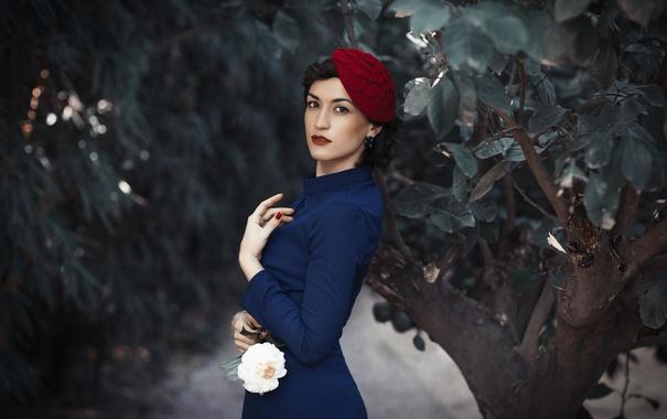 Фото обои цветок, взгляд, девушка, лицо, стиль, фон, одежда