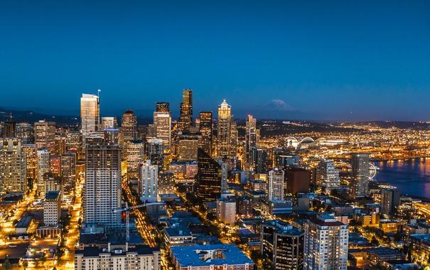 Фото обои огни, дома, панорама, США, мегаполис, Seattle
