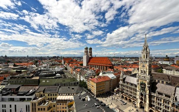 Фото обои Фрауэнкирхе, новая ратуша, Германия, панорама, Мюнхен, Мариенплац