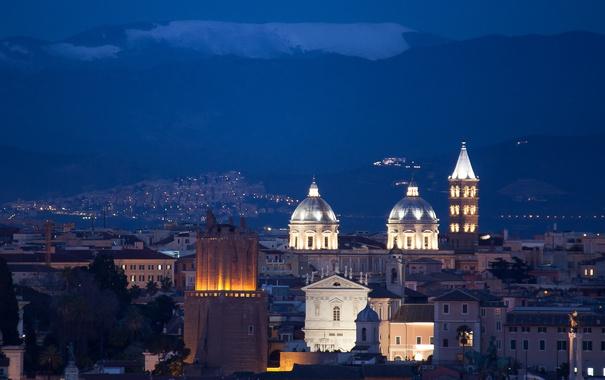 Фото обои небо, ночь, city, город, lights, синева, здания