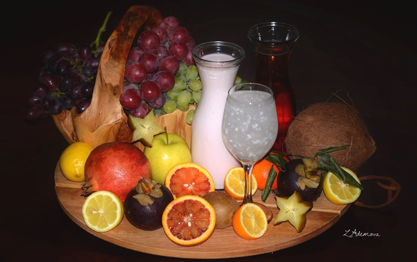 Фото обои лимон, яблоко, апельсин, кокос, киви, молоко, сок