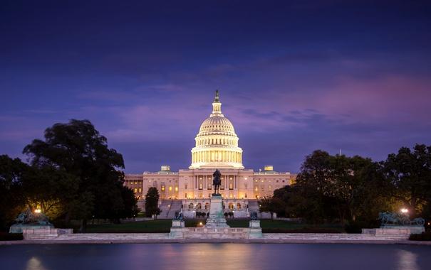 Фото обои ночь, огни, Вашингтон, США, Капитолий, округ Колумбия