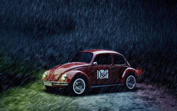 Фото обои car, дождь, жук, volkswagen, red, vintage, beetle
