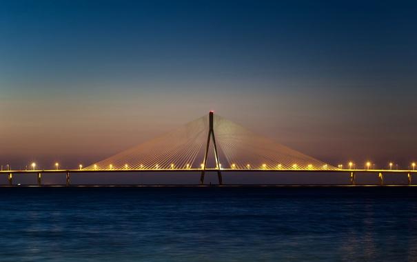Фото обои мост, Индия, Мумбаи, главный пролет, Bandra Worli Sea Link bridge