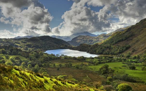 Фото обои небо, деревья, горы, озеро, поля, Англия, долина