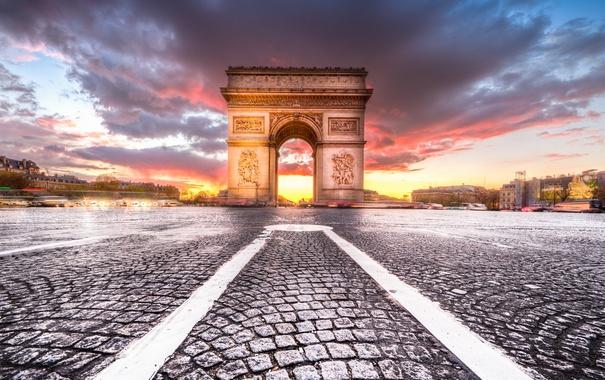 Фото обои закат, город, Париж