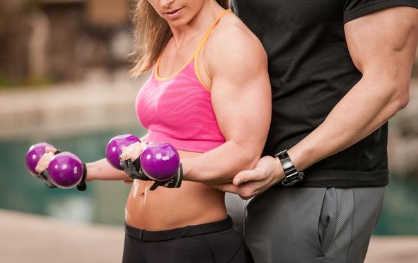 Фото обои woman, men, fitness, coach, dumbbells
