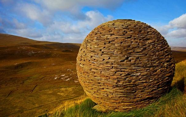 Фото обои горы, шар, Шотландия, глобус, заповедник, Нокн Краг