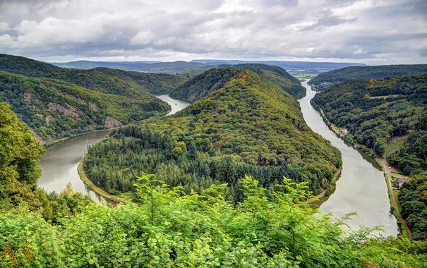 Фото обои зелень, лес, облака, деревья, горы, река, Германия