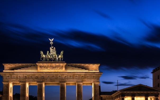 Фото обои небо, ночь, город, Германия, подсветка, архитектура, синее